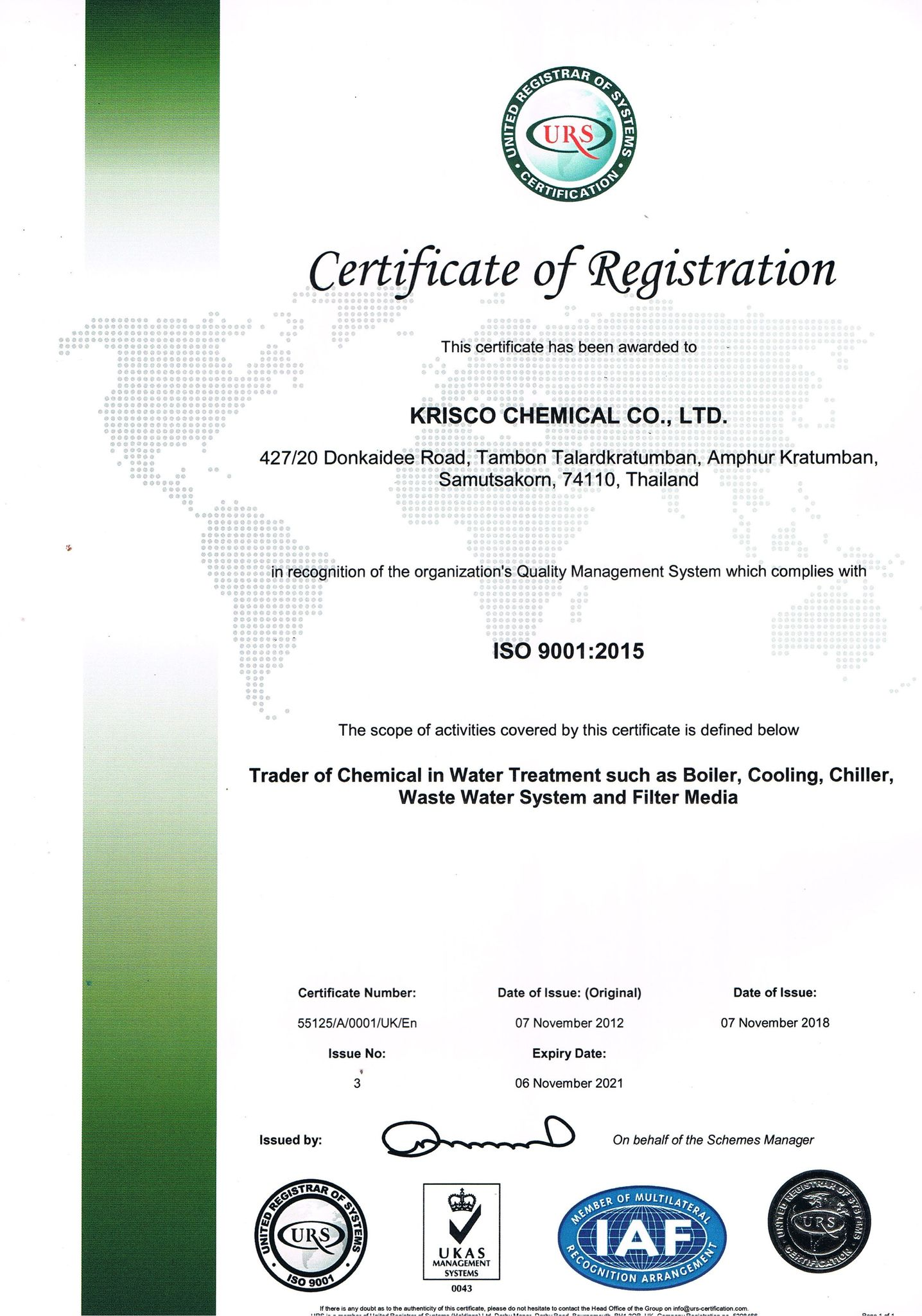 Certificate of Registration & Krisco chemical